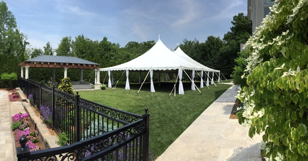 Wedding tent with leg drapes