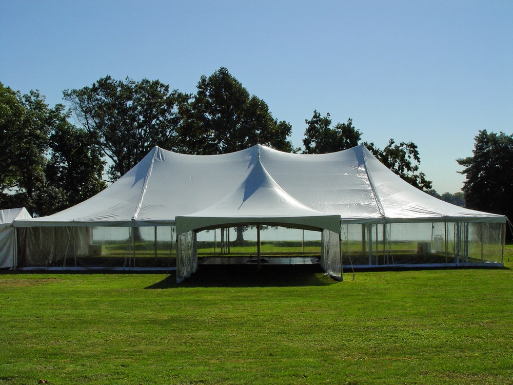 White tents with clear walls