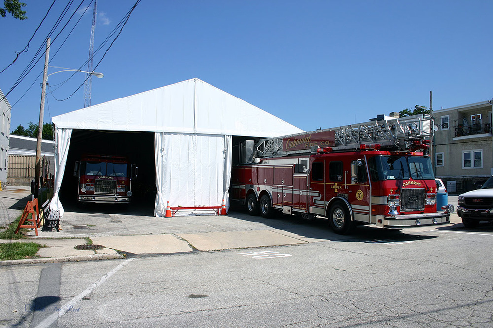 Tent for temporary firehouse
