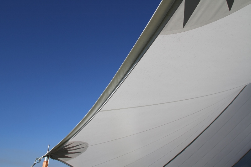 Translucent sailcloth tent