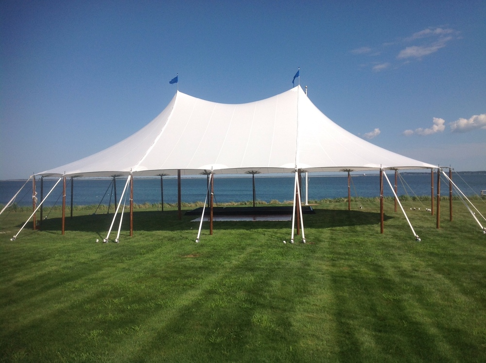 Oceanside sailcloth wedding tent