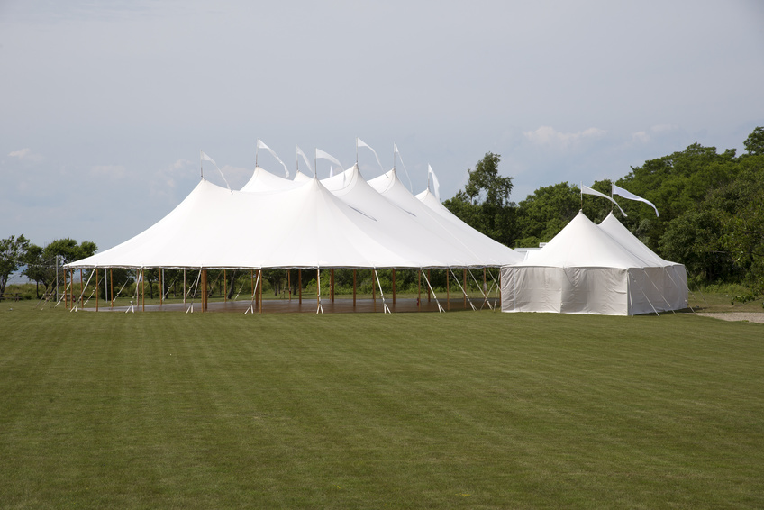 Large marquee erected in the countryside