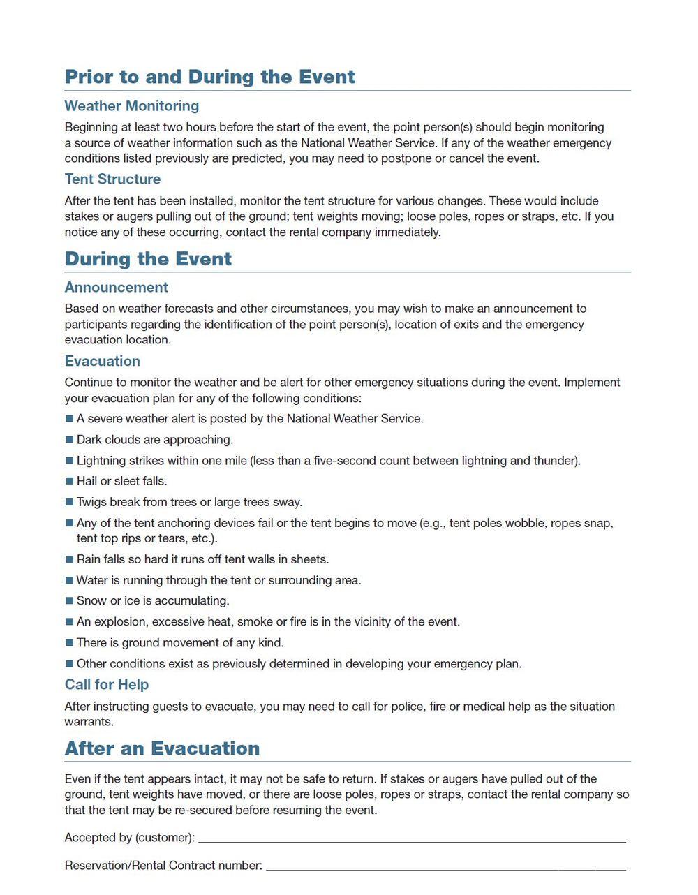 Tent Evacuation Plan
