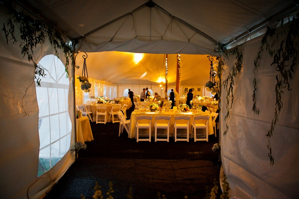 Wedding tent during a storm