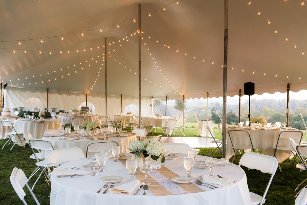 Wedding tent bistro lights