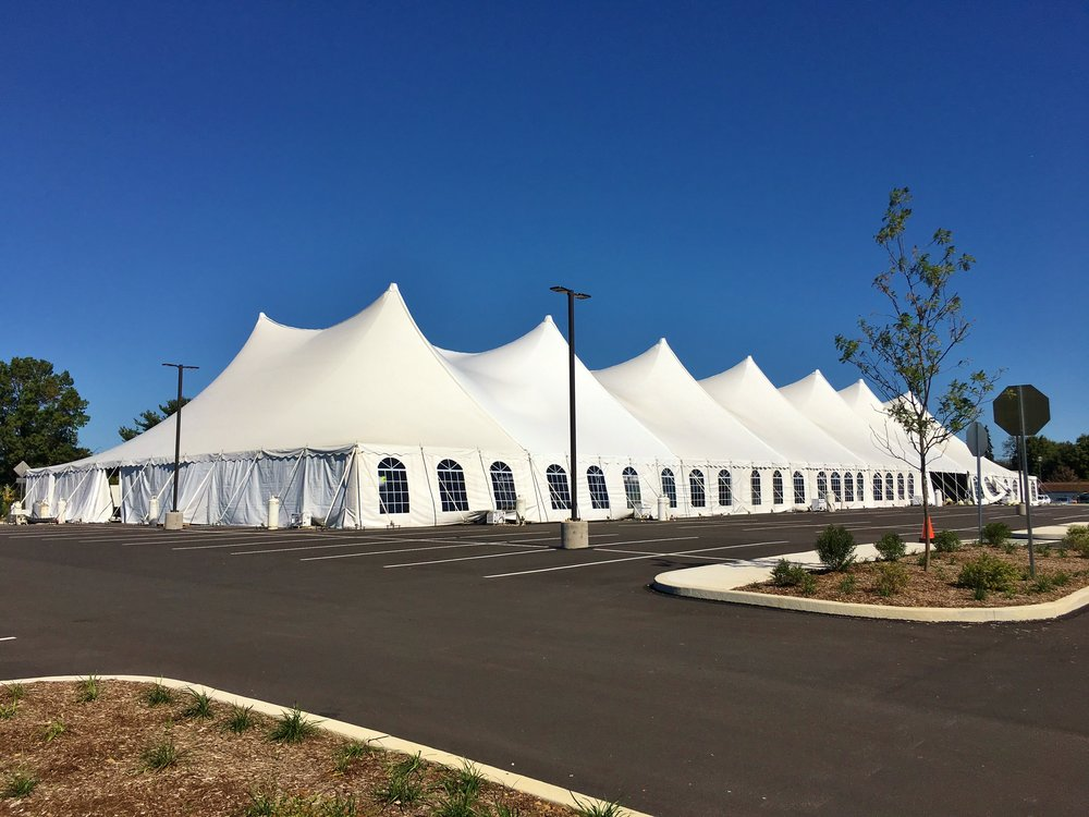 Large disaster response tents for sleeping or dining