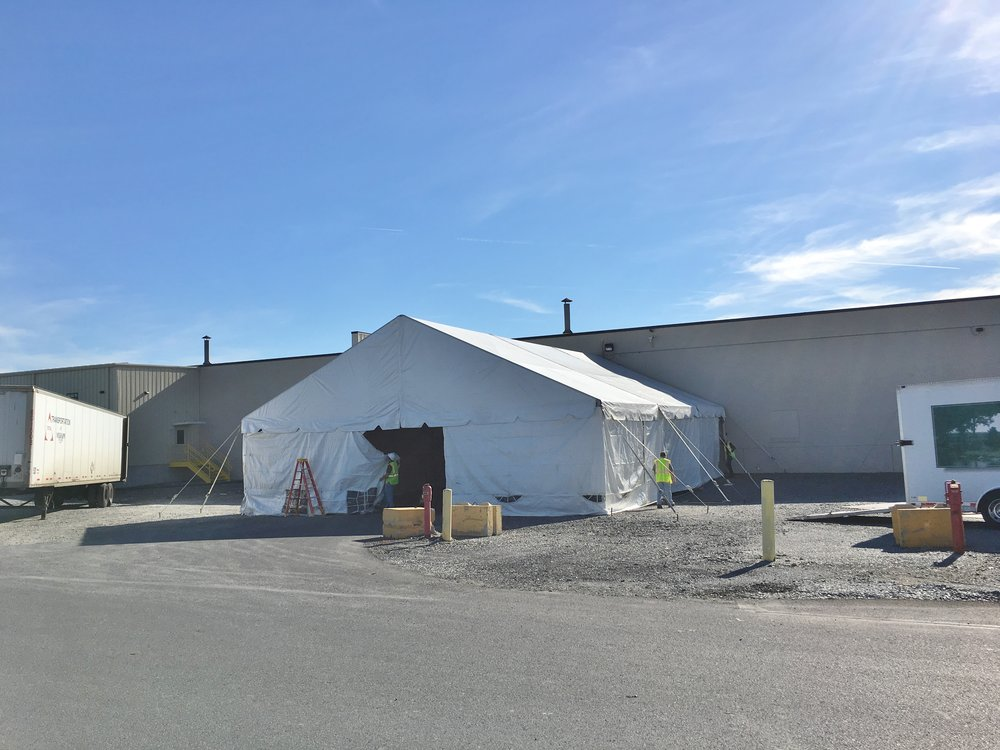 Temporary tent used during construction