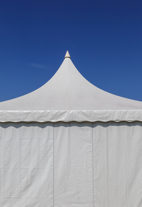 The white canvas tent for large event.