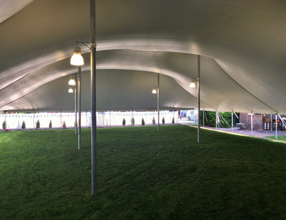 LED lighting in large tent