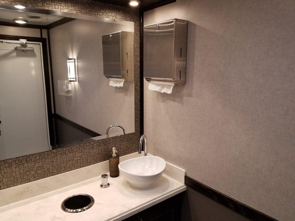 2 person restroom trailer interior