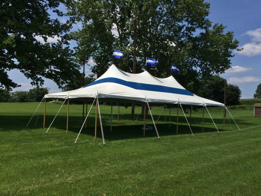 20x40 blue and white tent for graduation party