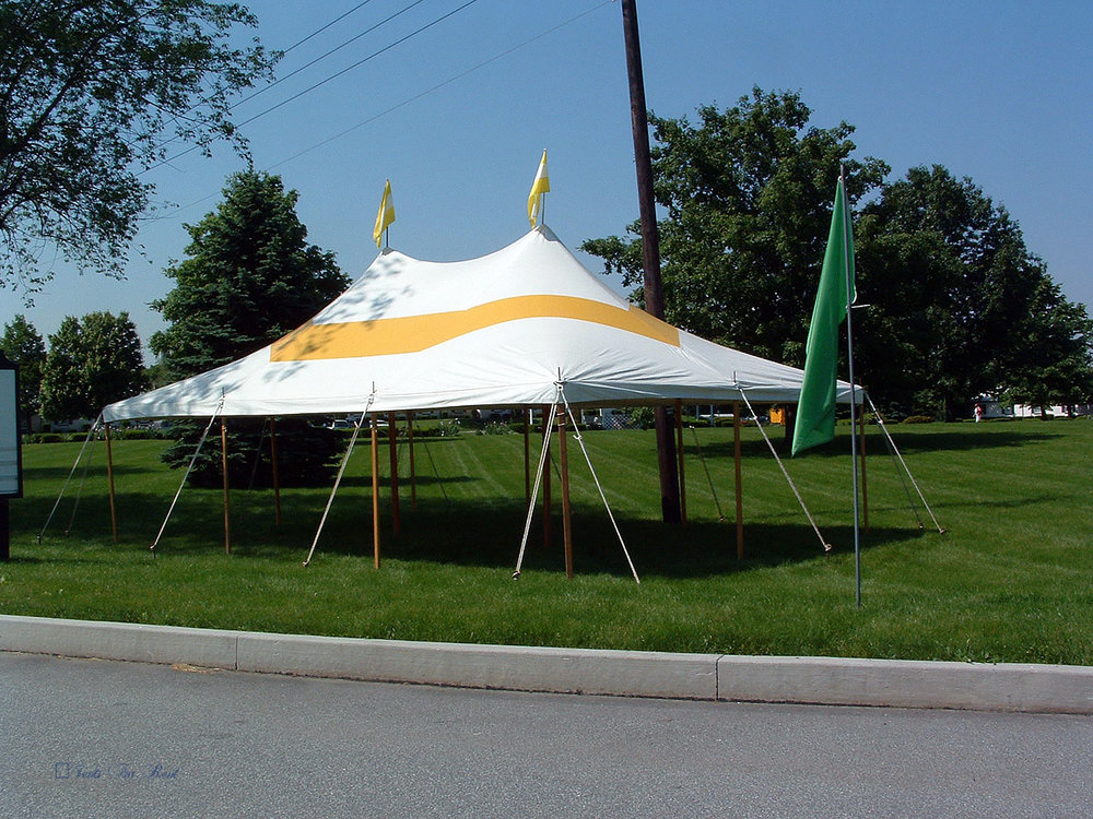 20x30 yellow and white graduation party tent