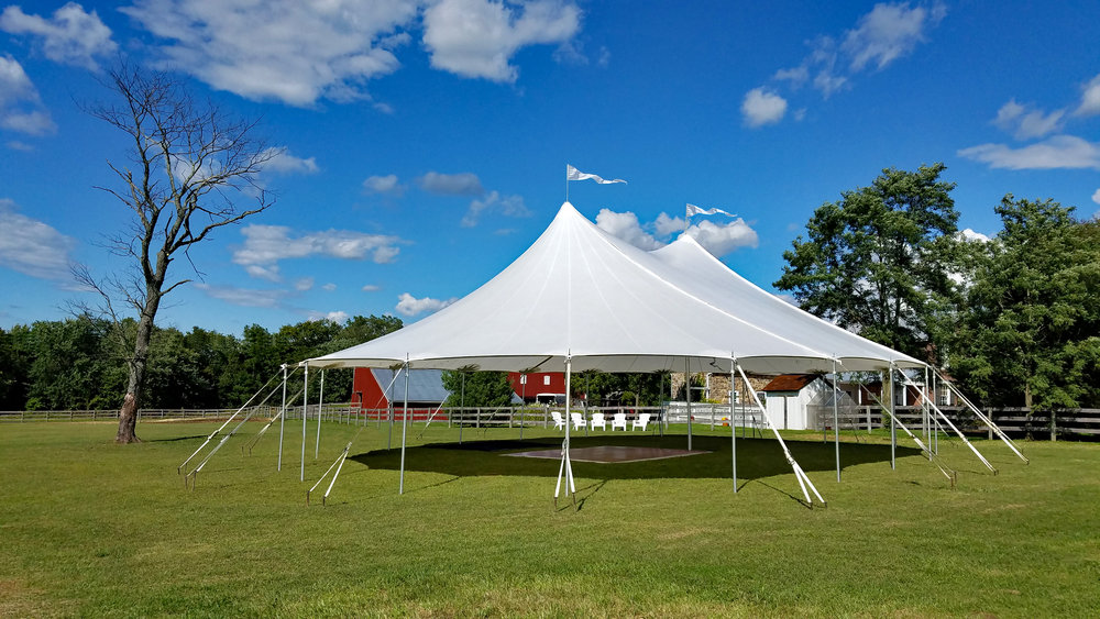Sailcloth tent for outdoor wedding