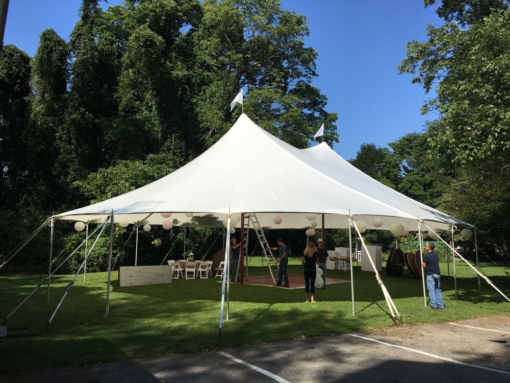 Outdoor wedding in a sailcloth tent