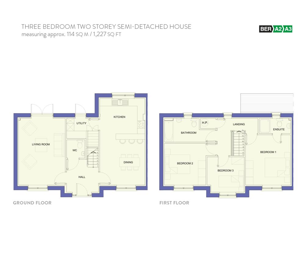 Floor Plans Dalriada Knocklyon – Double Storey Semi Detached House Floor Plan