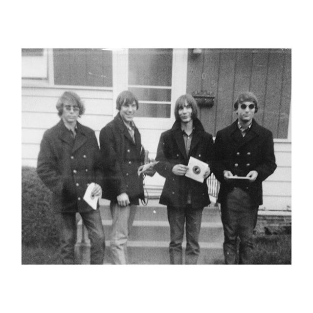 "#tbt my pops' band 'the gentlemen' after their first 7"" was recorded and pressed. circa 1968."