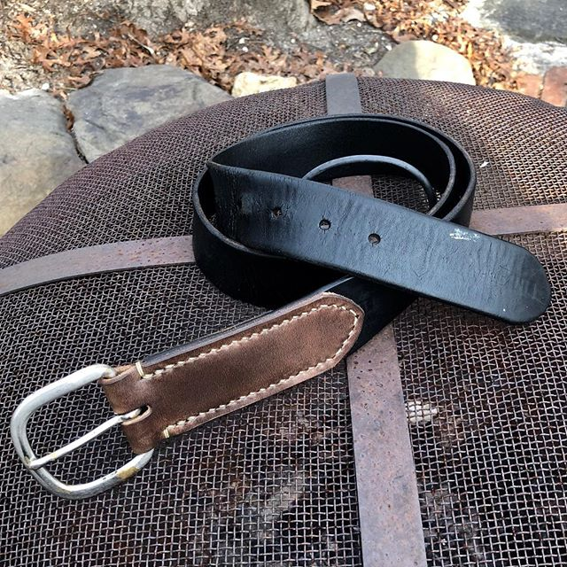 Added some life and mileage to this killer old @independenttrucks belt. Well worn since the late 90's by @acecoffeeco  The buckle had torn through the fold, so reinforced and elongated with a wrap of natural @horweenleather Chromexcel.  Live to die another day. . . . . . . #builttolast #coffee #everydaycarry  #pinebaron #pinebaronusa #longisland #newyork #pinebarrens #leather #leatherwork #handmade #madeinusa #surf #skate #supportsmallbusiness #supportyourlocal #motorcycle #skateboard #fieldnotes #moleskin #restore #reuse