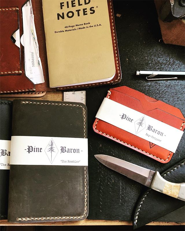 Productive clutter . . . . . #pinebaron #pinebaronusa #longisland #newyork #pinebarrens #leather #leatherwork #handmade #madeinusa #surf #skate #supportsmallbusiness #supportyourlocal #motorcycle #skateboard #fieldnotes #moleskin #everydaycarry