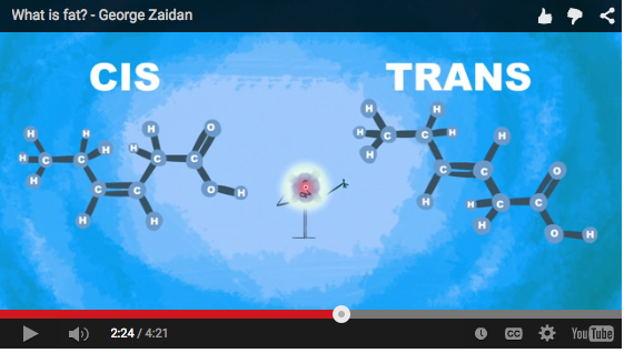 Here is a screen shot showing how a double bond can 'twist'.  cis  on the left means the SHAPE is the way our body would like to get and use the GOOD Unsaturated Fats. You can see the double bonds between the 2 carbons, then you can notice 2 H are below and 2 C's are above. When the H's are on the same side and the C's on same side the shape is recognizable and this is useful fat for the body to use. cis shaped unsaturated fats= useful (Except when the ratio of Unsaturated fat is off but that is another video. The point is  just like saturated fats  there is an  excess  issue to pay attention to. You don't NEED to know any of this carbon, hydrogen...in detail but it is helpful to understand that  at the double bond  - if  HAL  (Heat, Light, Air) negatively impact the unsaturated fat that the shape of  cis   takes on the shape of  TRANS;  you now have  negative impact  on the body. Repeat: The TRANS  shape   of unsaturated fats has negative impact on our body . Because of this we need to be aware of how to choose and care for our unsaturated fats for  CELL f  Care.