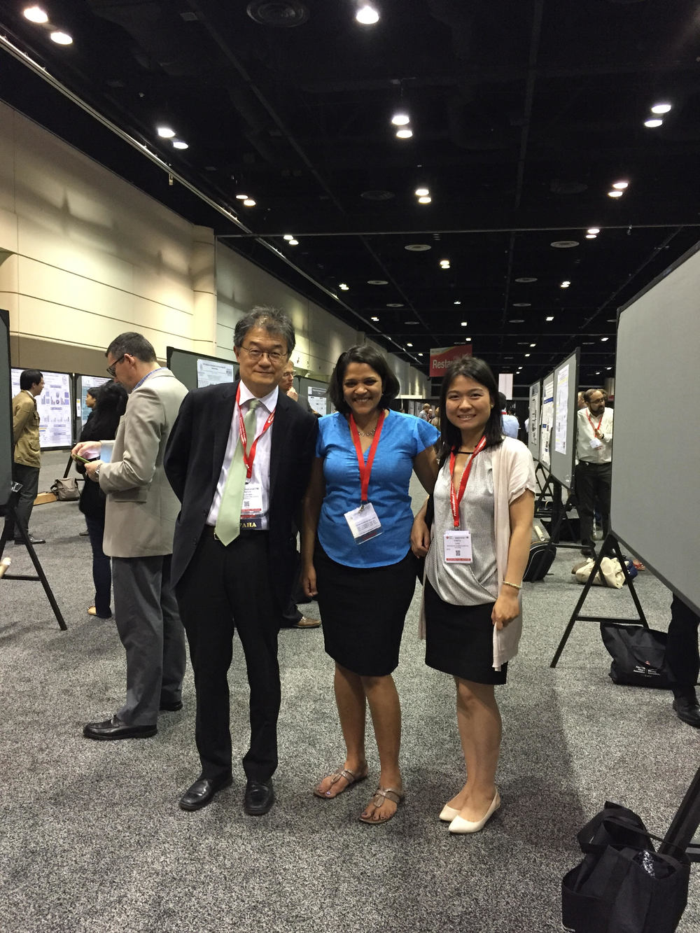 Pictured above (from left to right): Drs. Sadoshima, Nirmala Hariharan, & Yanfei Yang