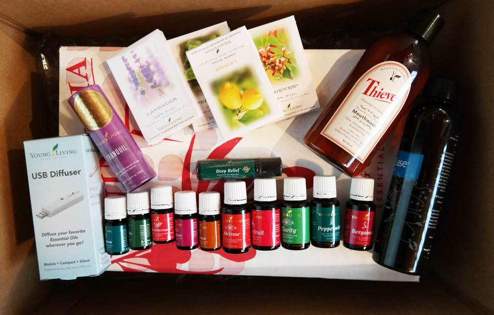 Example of my Essential Rewards order. Lots of essential oils, USB diffuser for work, two bottles of NingXia red, Thieves mouth wash, samples to give friends and the freebies: two oils and the massage oil.