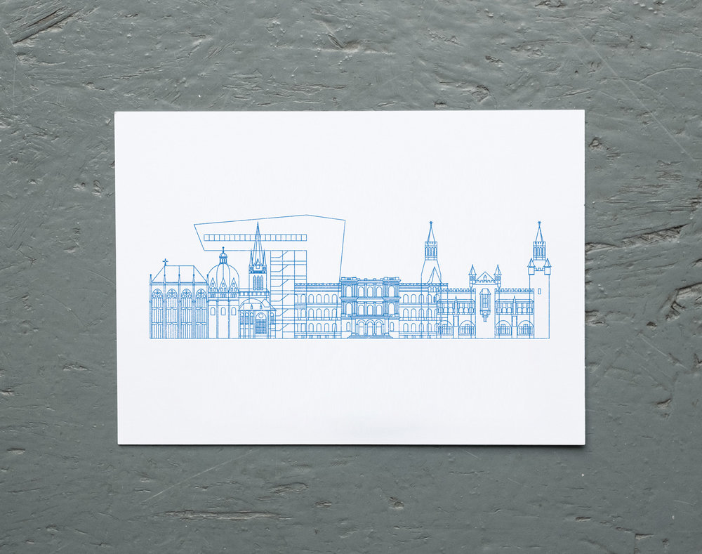 A silhouette of famous architecture from the city of Aachen.