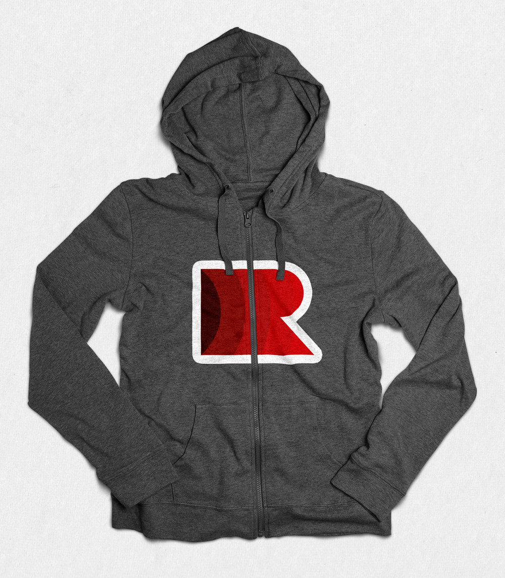 A design for a hoodie which uses the wordmark.
