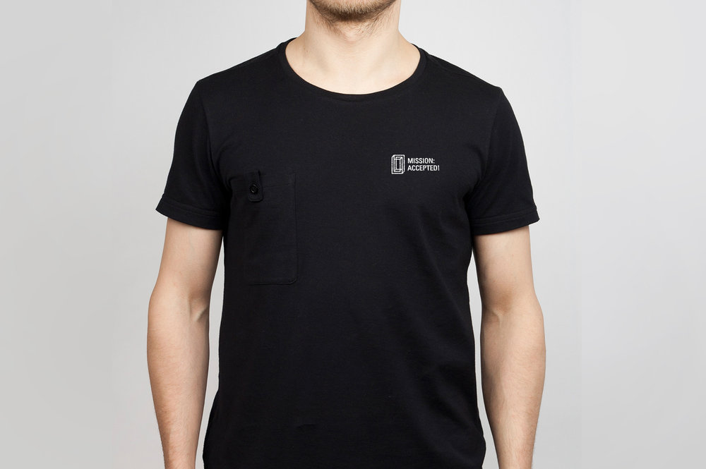 Mission accepted logo on a tshirt.