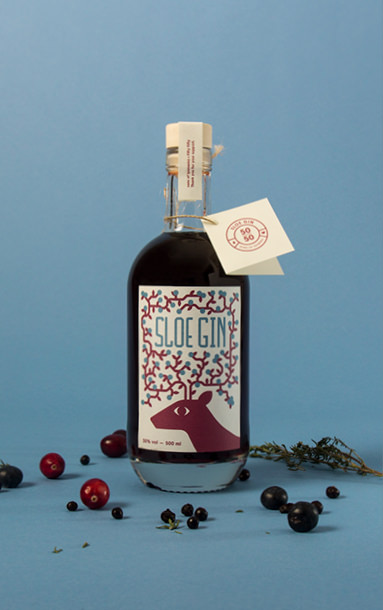 Label design for a sloe gin bottle.