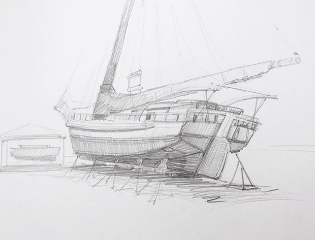 Took a break from buffing the hull of my boat to draw the Stanley Norman. #annapolis #sailing #drawing #skipjack #waterman #chesapeake #bay #graphite #study #marineartist #boatlife #woodenboat #workboat #onthehard