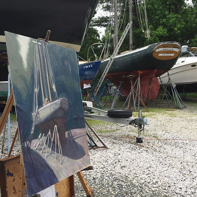 Marylyn, Of Annapolis. #sailing #Annapolis #Maryland #woodenboat  #sailboat #marina #pleinair #oilpainting #art #artistsoninstagram #outdoors