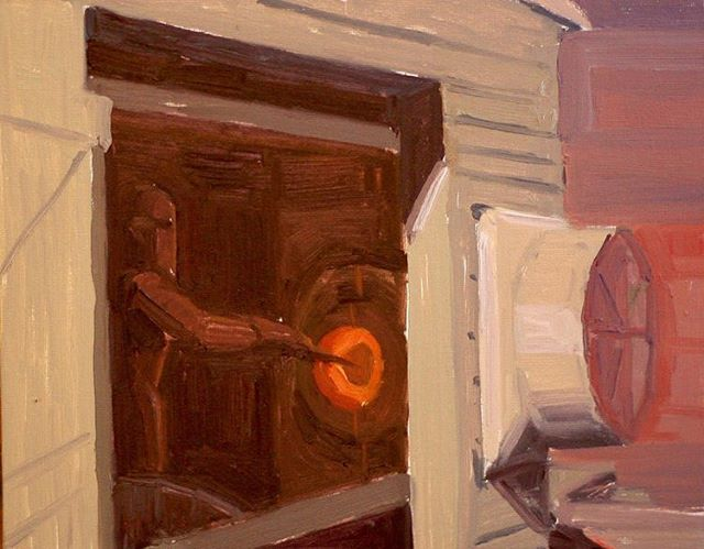 Blowing Glass. Available on my website. Link in bio. Painted in Berlin MD  #glassblowing #craft #artisan #art #painting #berlinMD #summertime #glassblowingstudio #oilpainting #artworkforsale #fineart #maker #americancrafts #americanartist