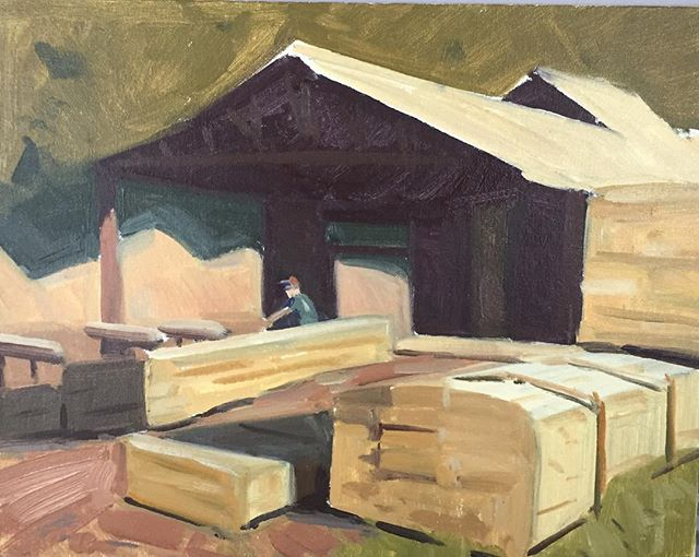 Lumber Jockey. Because giant saws and massive stacks of wood are manly. #marylandhasitall #workman #labor #splinters #manly #oilpainting #art #whatareyoulookingat #pleinairpainting #landscapepainting #manuallabor