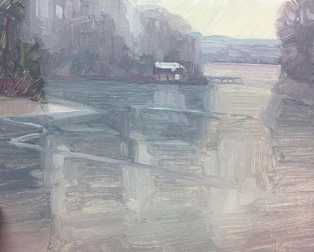 "Valentine Creek. 11""x14"" From this past winter. #oilpainting #pleinair #landscape #chesapeakebay #art #winterscene #frozen #ice #pleinairpainting #frozenvalentine"