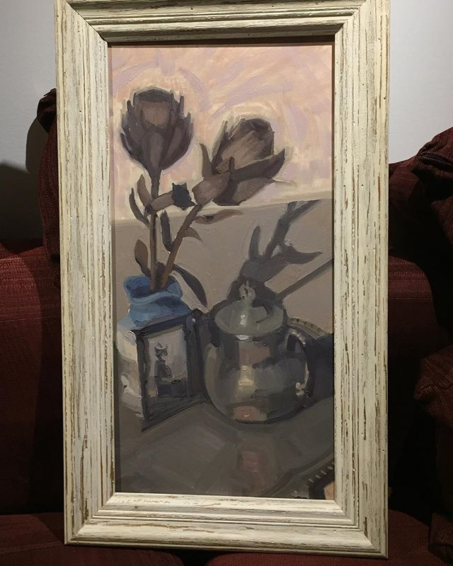 """I finally found a frame for this 12""""x24"""" painting. Only took me a few years. #stilllife #oilpainting #art #artist #framing #realmenpaintflowers"""