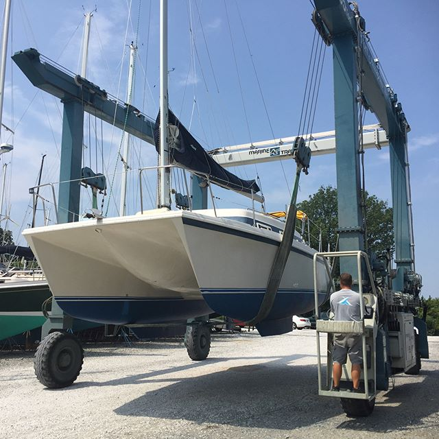 Yesterday was one of the most surreal days of my life. Ramoth hit water for the first time in 16 years! After 3 months of solid work. Power wash clean inside and out (filthy), new fuel tank, new water pump, get motor running, wax hull, paint bottom, repair hull damage, re-seal hatches, new sail, fix sail after Squirel are holes again.., new wood floors, new lazy jacks, new sail cover, new batteries, clean every square inch of visible interior, new bilge pump/ hoses. And I'm sure a lot more I can't think of. Very surreal day on the Bay...