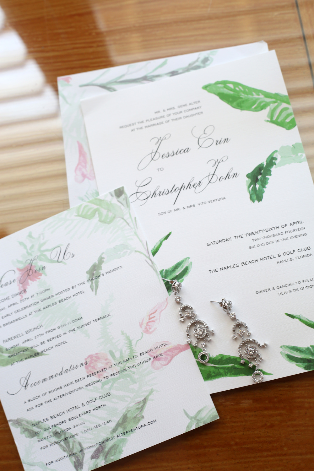 Our wedding invitations, program, and dinner menu were all designed by  Jade Social .