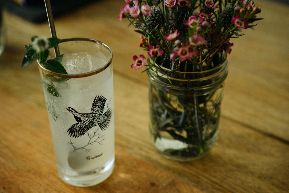 A welcome cocktail for guests. Pictured here is a Lychee Orange Mint Spritzer.