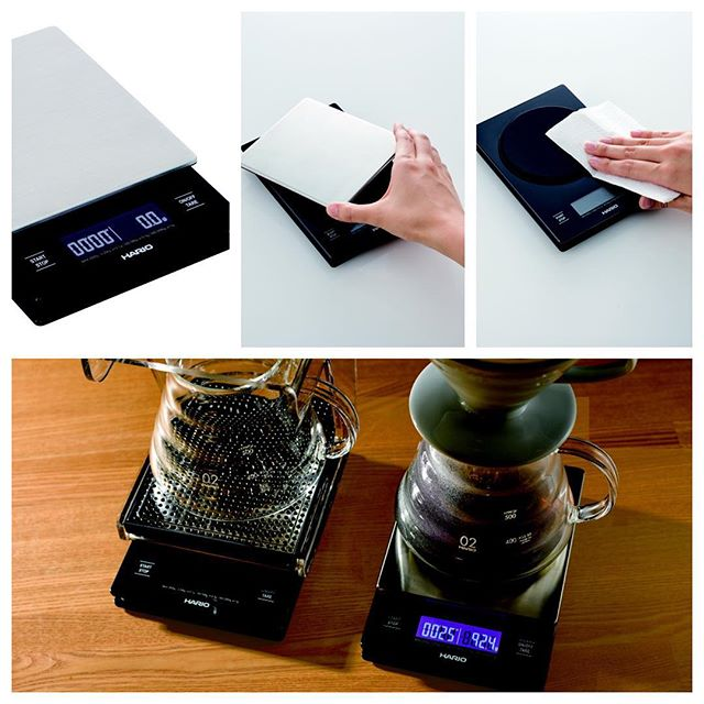 Finally available! The VSTM-2000 is the timer / scale for the pros!  It has a rechargeable lithium ion battery, backlit led display, and removable metal base for cleaning. #Hario #pourover