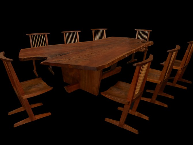 At Freeman's last week, this table and chairs sold for $150,000, a new record for Mira Nakashima.