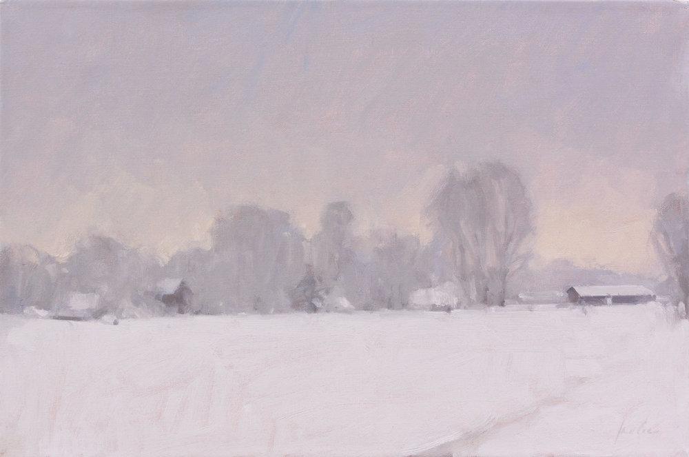 "James Coe  The Long Winter  oil/linen 12"" x 18"""
