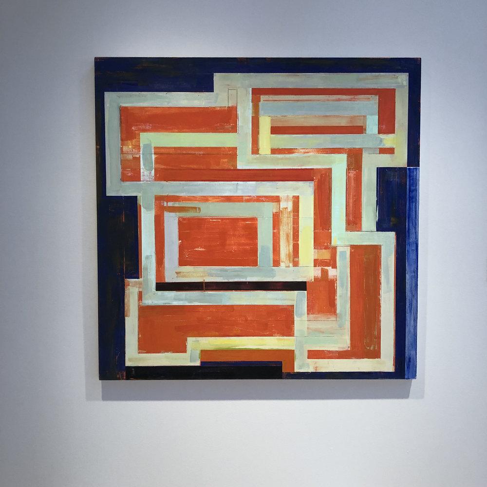 "Lloyd Martin Orange Circuit 2018, 48"" x 48"", oil on canvas"
