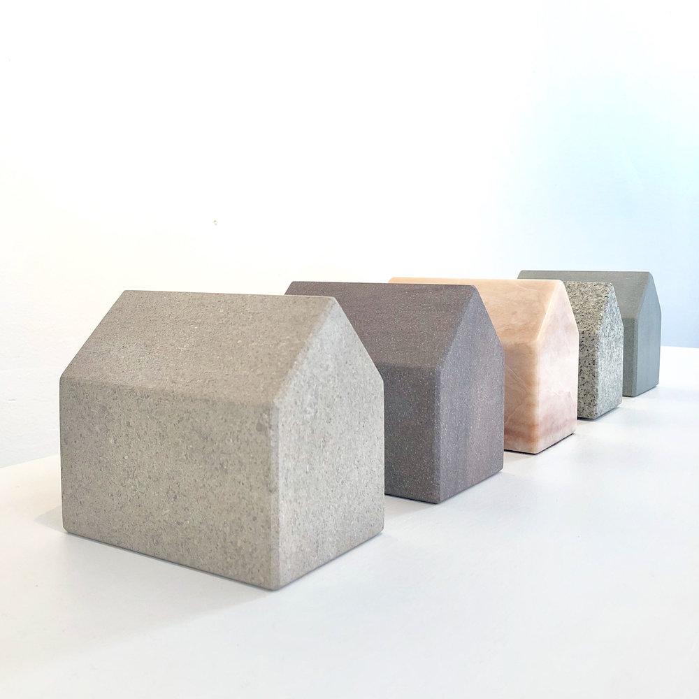 L-R Indiana Limestone, Brownstone, Granite, Alabaster (SOLD) and bluestone.