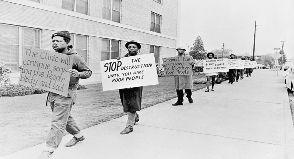 African Americans in Portland's Albina neighborhood protesting Legacy Emanuel Hospital in 1971. Source: Oregon Historical Society