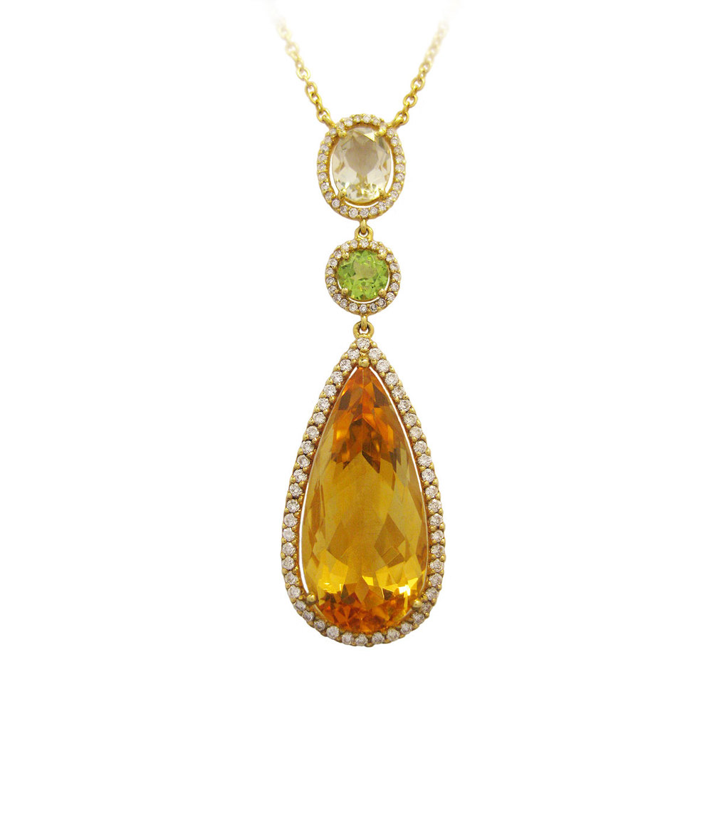Gold Citrine, Peridot, & Quartz Diamond Pendant