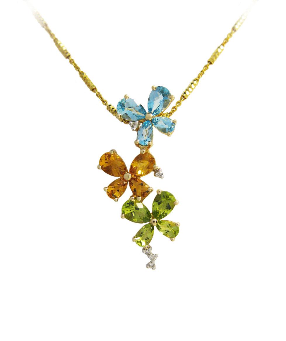 Gold Blue Topaz, Citrine, & Peridot Pendant