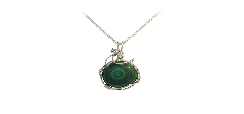 Wire Wrapped Malachite Pendant