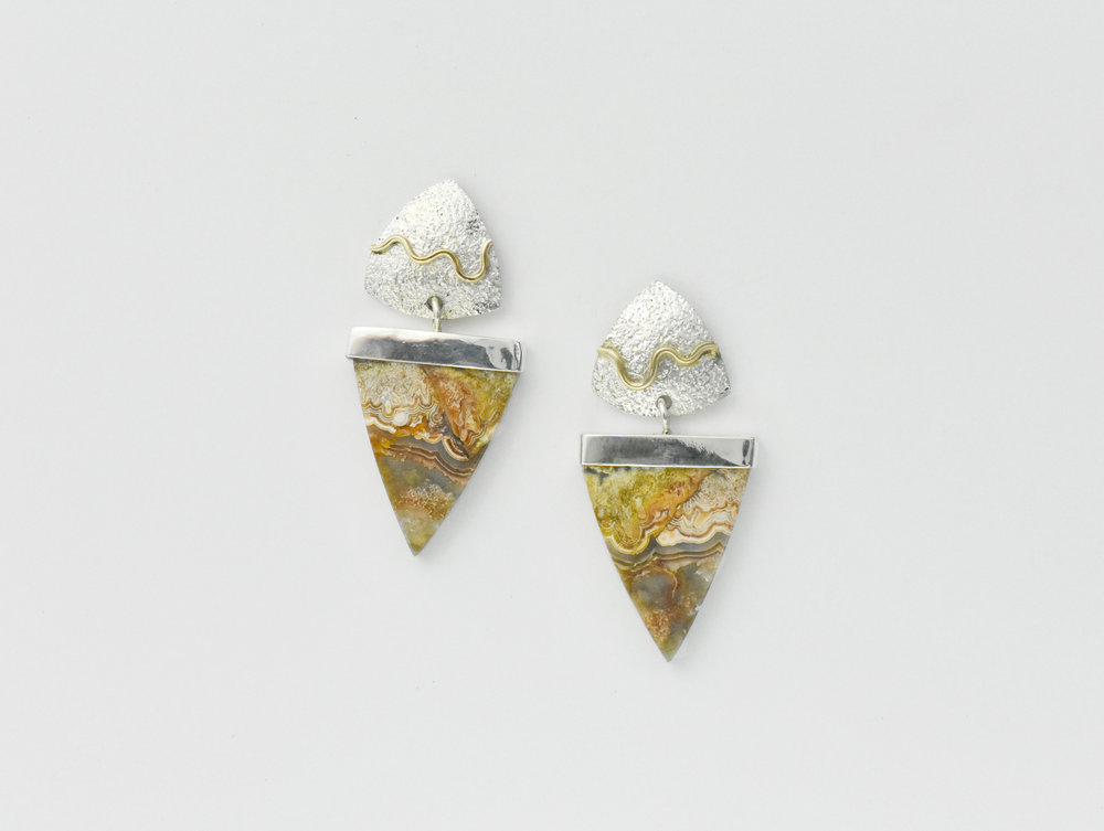 Crazy Lace Agate SS 14k yg accent earrings.jpg