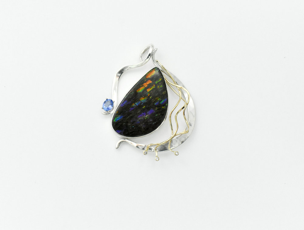 SS YG Ammolite diamond and tanz pendant.jpg