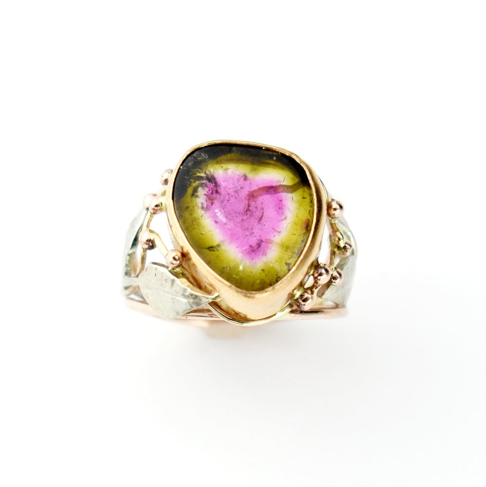 Tootie Fruity - 14k White Gold, 14k Pink Gold & 22k Yellow Gold Watermelon Tourmaline ring14k White Gold, 14k Pink Gold & 22k Yellow Gold = 2.87 dwtWatermelon Tourmaline = 7.56 cts